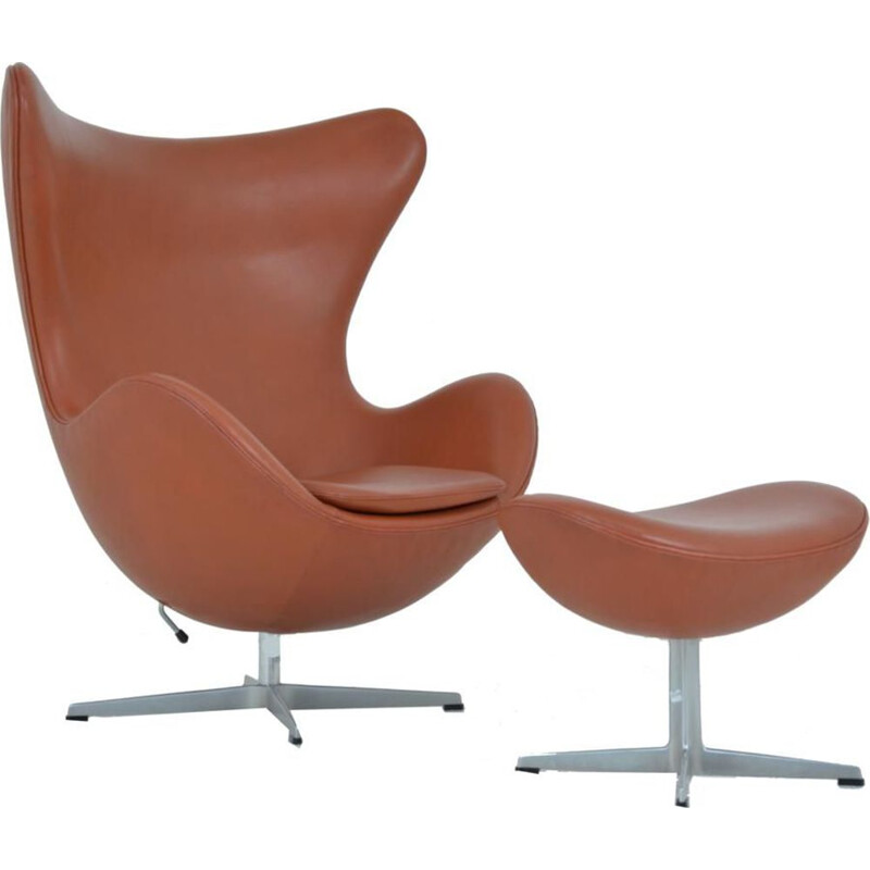 Vintage armchair & ottoman Egg by Arne Jacobsen for Fritz Hansen