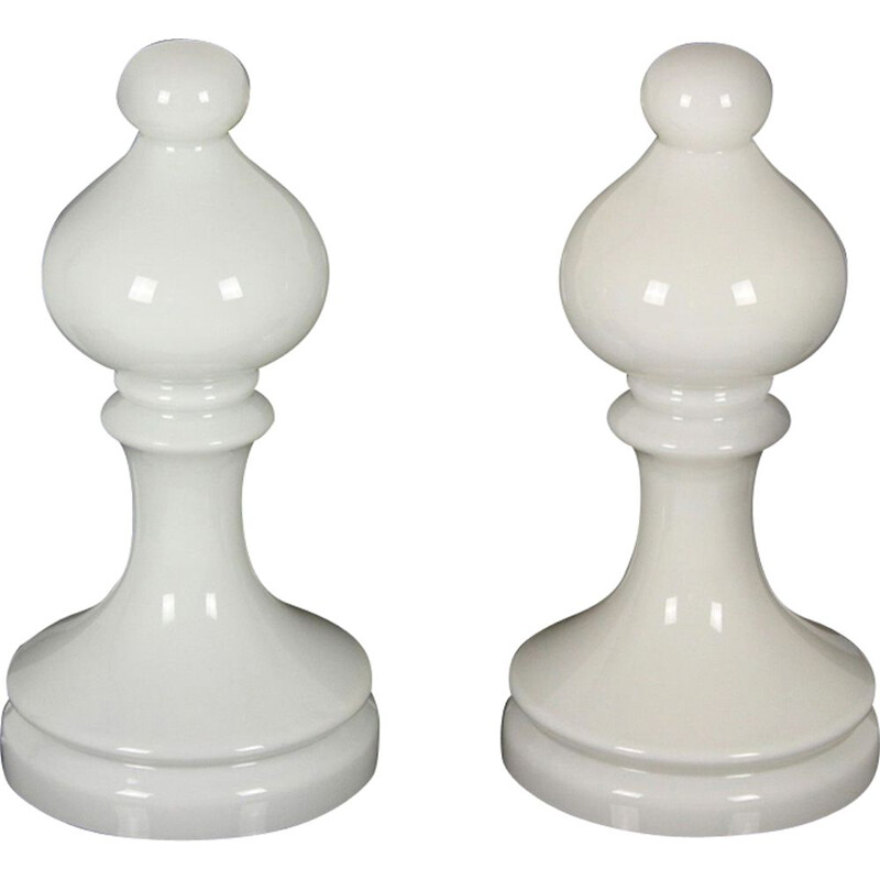Set of 2 vintage table lamps Bishop Chess in glass by Ivan Jakes for Osvětlovací Sklo Valašské Meziříčí 1970s