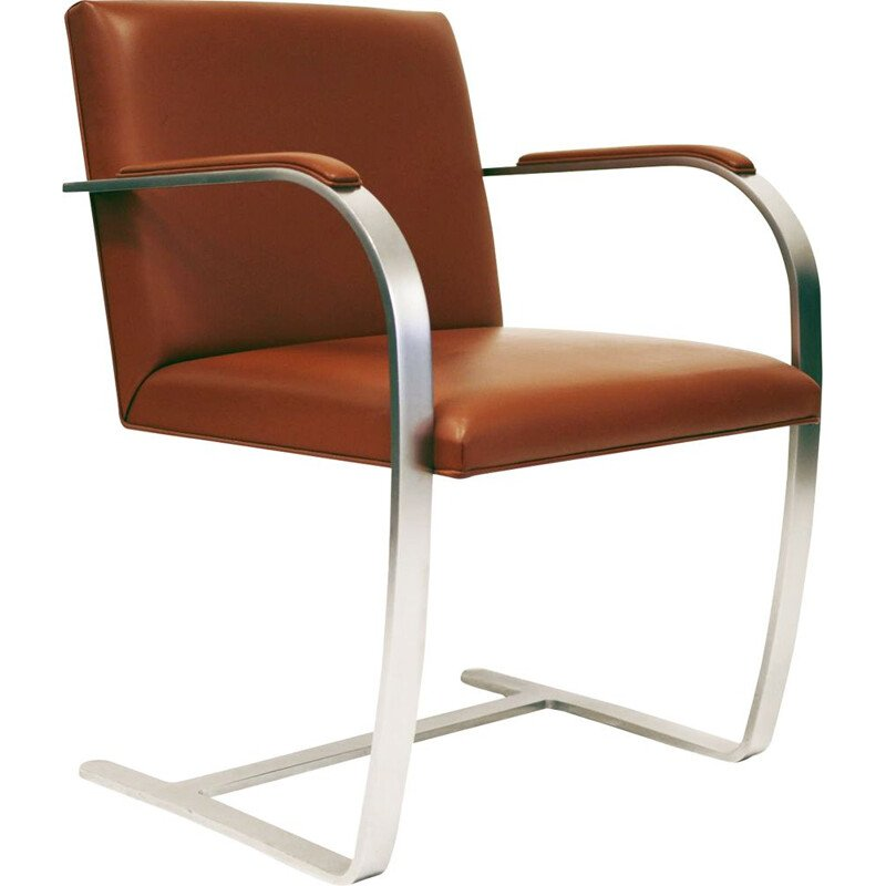 Vintage armchair by Mies van der Rohe Brno for Knoll in brown leather