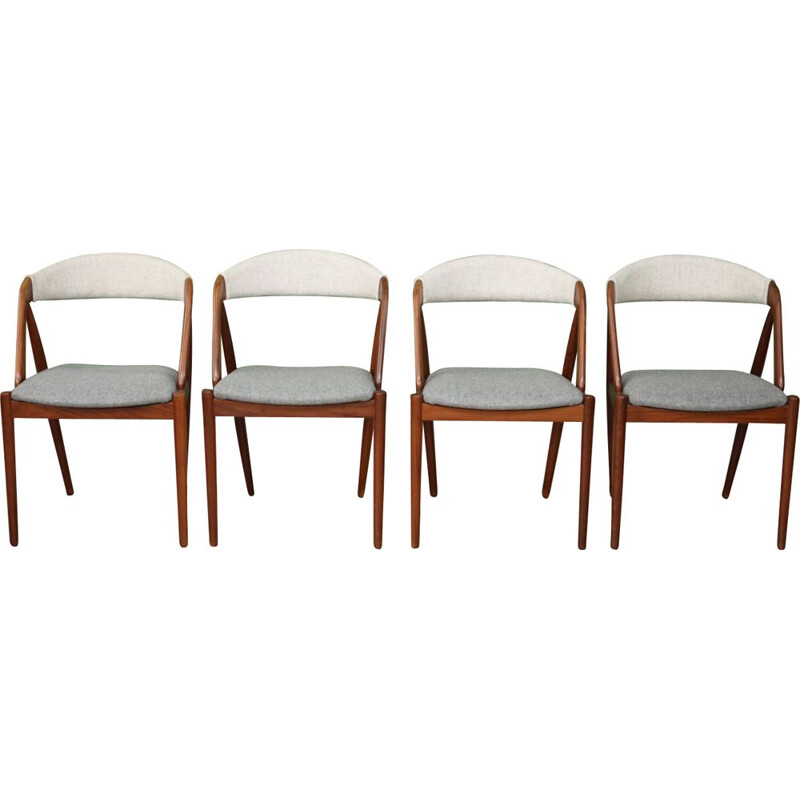 Set of 4 vintage model 31 chairs by Kristiansen in teak and grey wool 1950