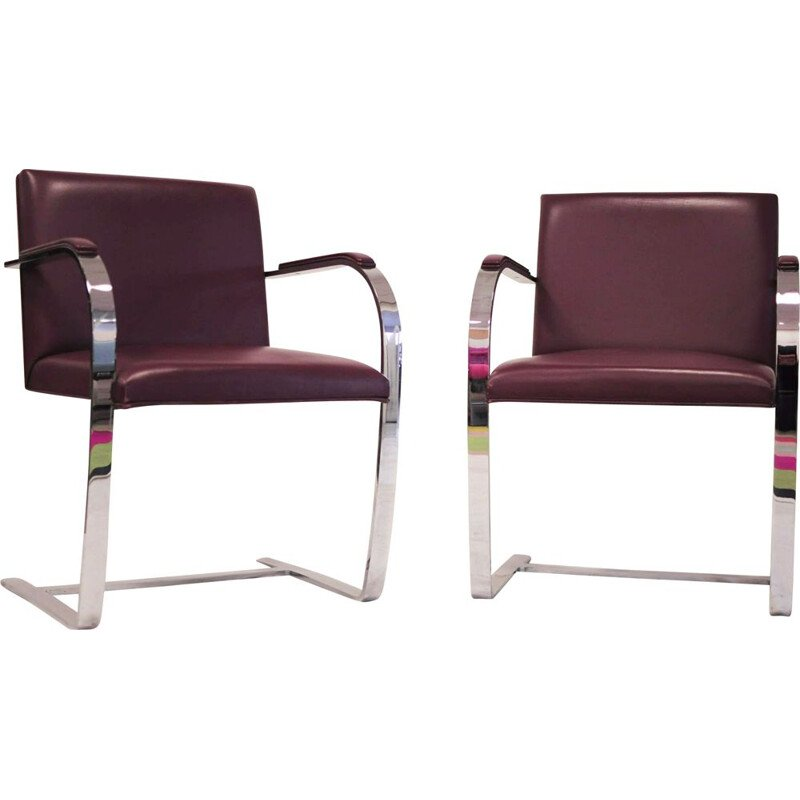 Vintage Brno armchair by Mies van der Rohe for Knoll in burgundy leather