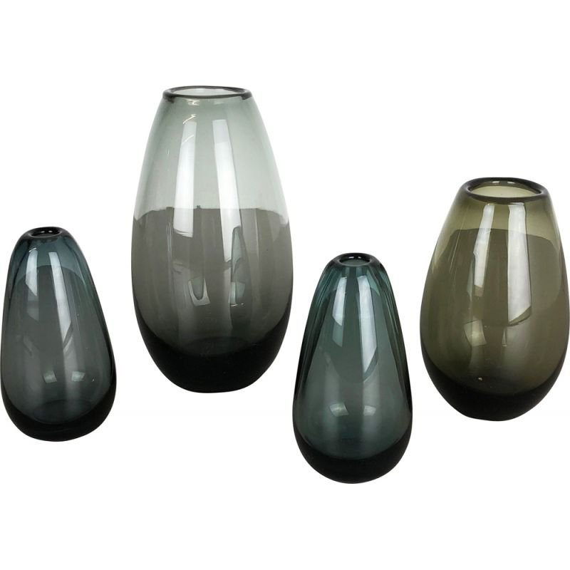Set of 4 vintage german Turmalin vases for WMF in glass 1960