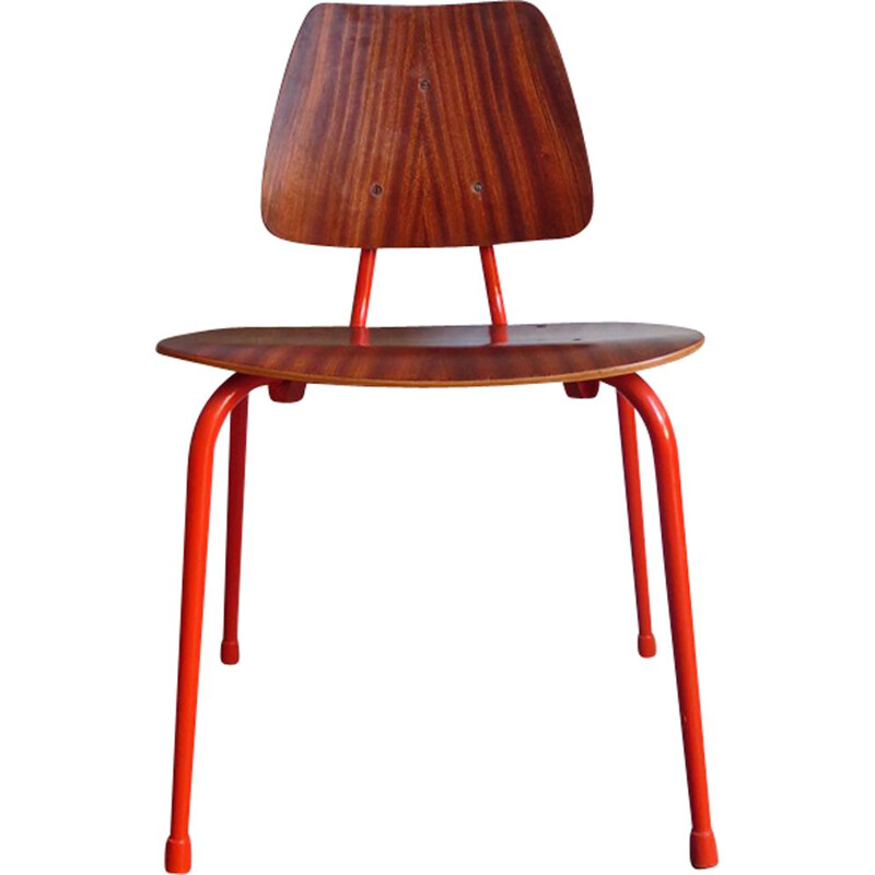 Vintage scandinavian chair in plywood and orange metal 1950