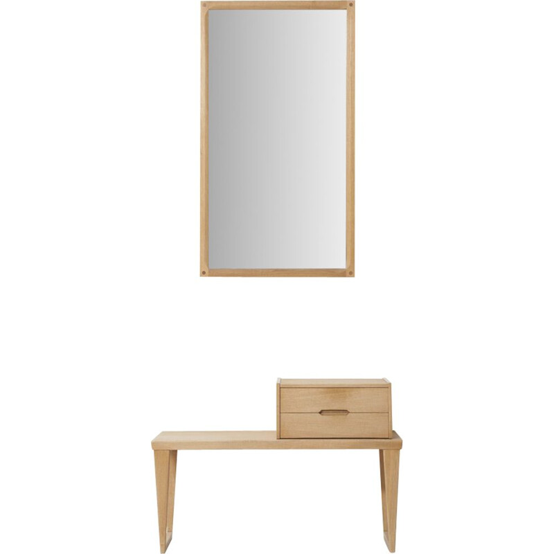 Vintage set of a chest of drawers and a mirror for Aksel Kjersgaard in oakwood