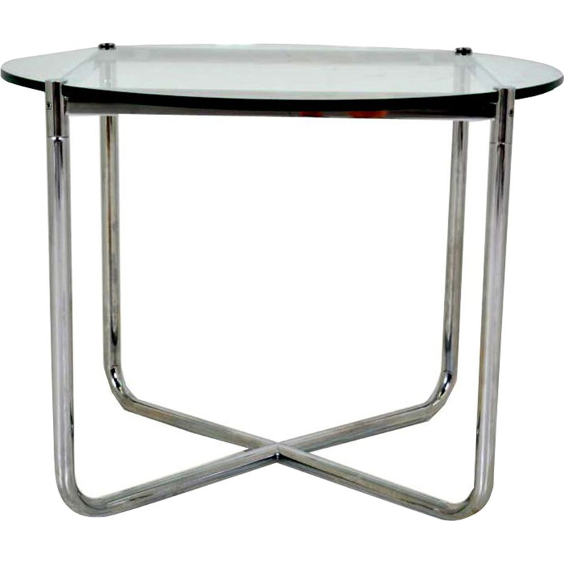 Vintage MR table for Knoll in chromed steel and glass 1970