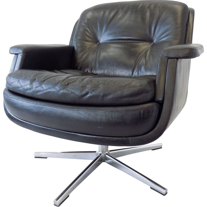 Vintage lounge chair by Schmidt in black leather 1960