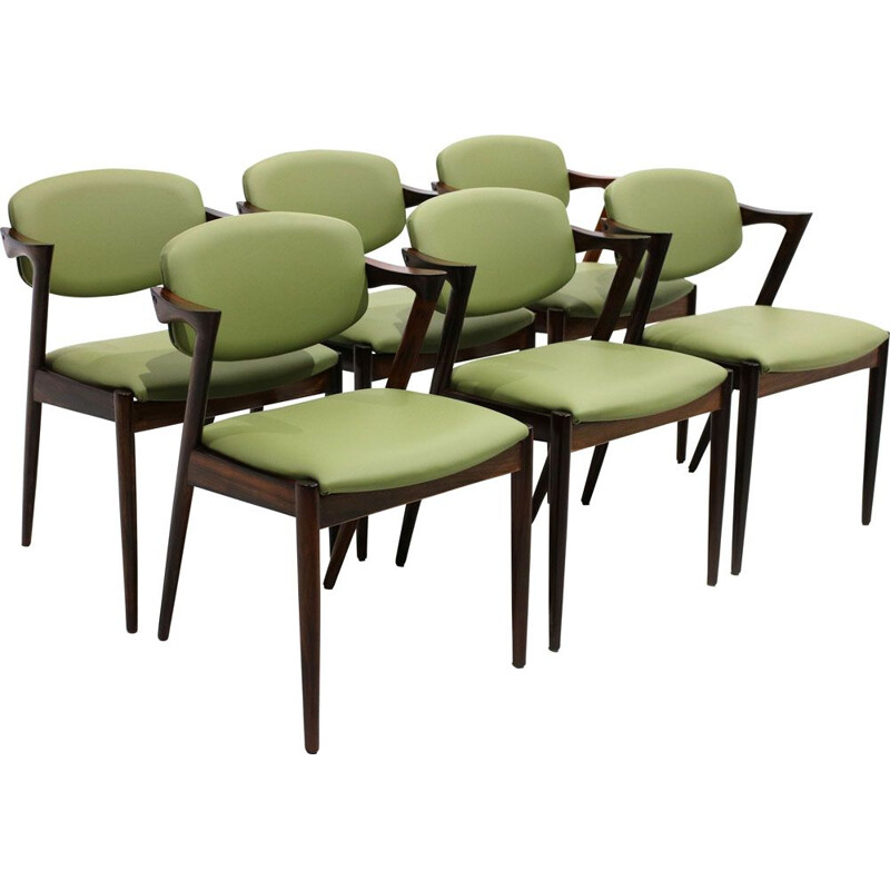 Set of 6 vintage model 42 chairs for Schou Andersen in green leather and rosewood 1960