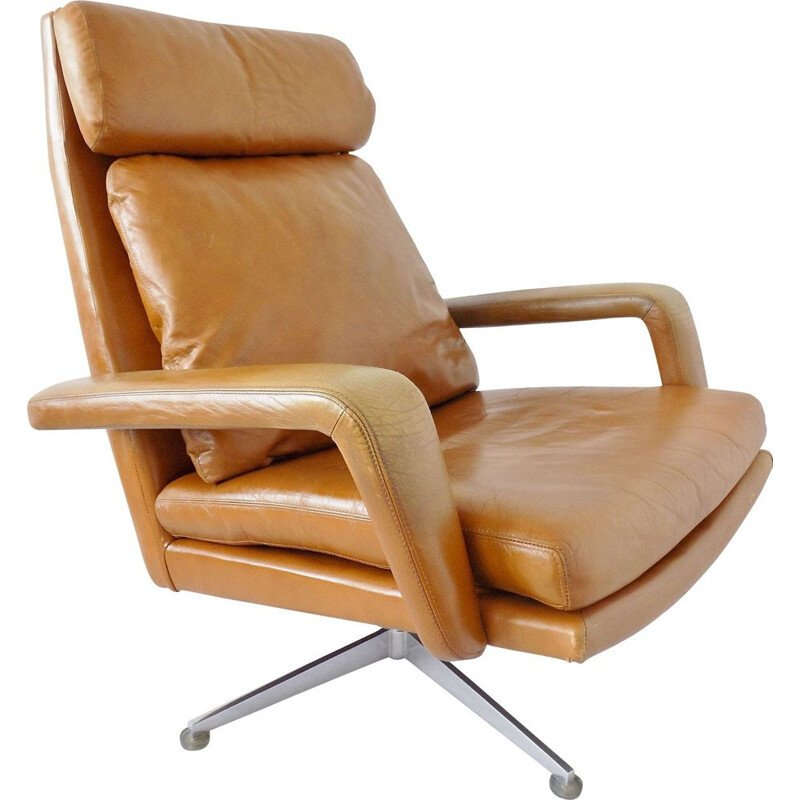 Vintage lounge chair by Kaufeld in brown leather 1960