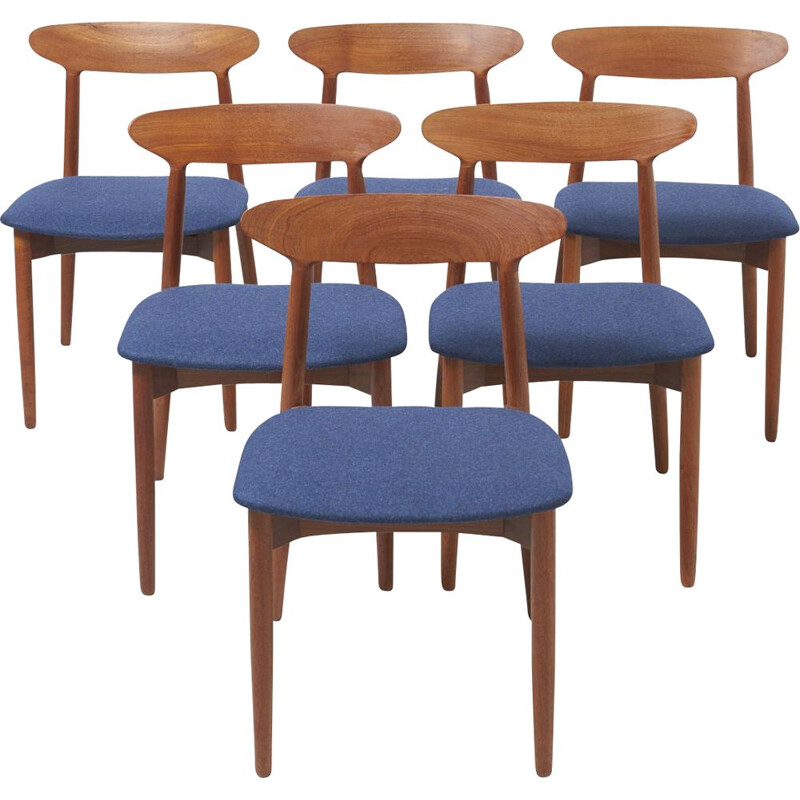 Set of 6 vintage 59 chairs for AS Randers in teakwood and blue fabric 1950