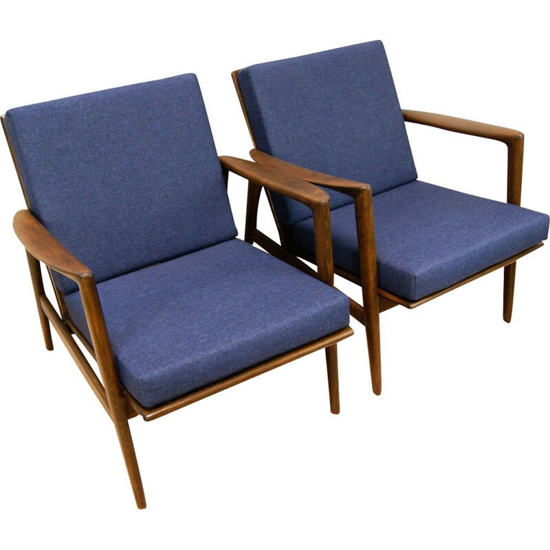 Set of 2 vintage Model 300-139 armchairs for Swarzędzka in blue fabric and beechwood 1960
