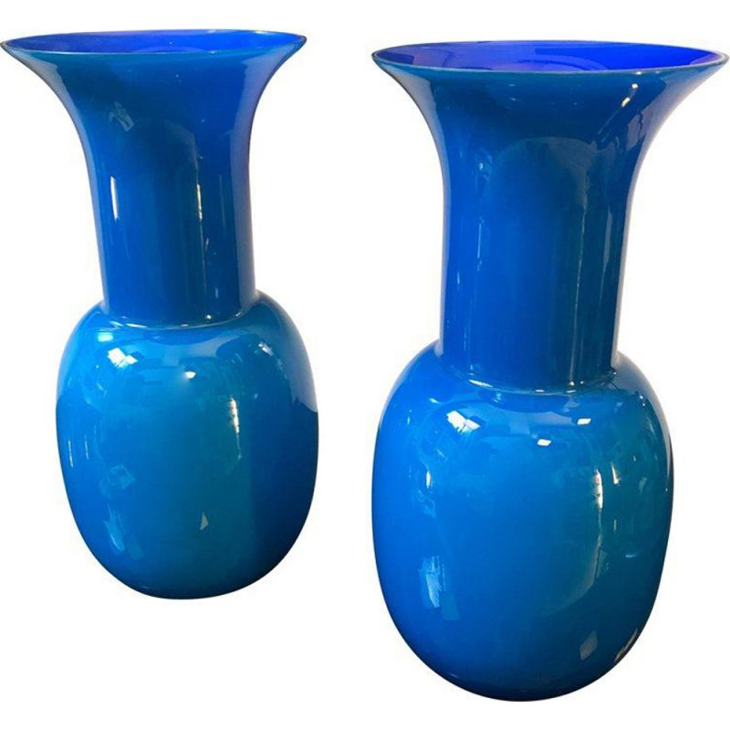 Pair of vintage vases Blue Murano Glass by Aureliano Toso