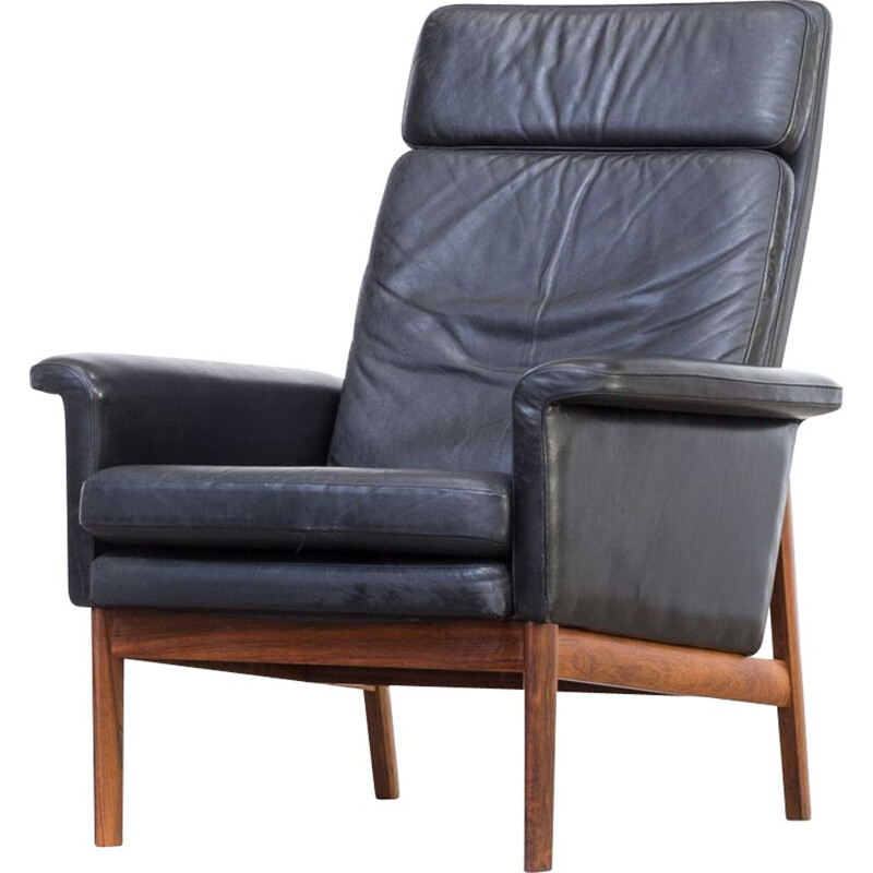 Vintage Jupiter lounge chair for France & Søn in black leather and wood 1960