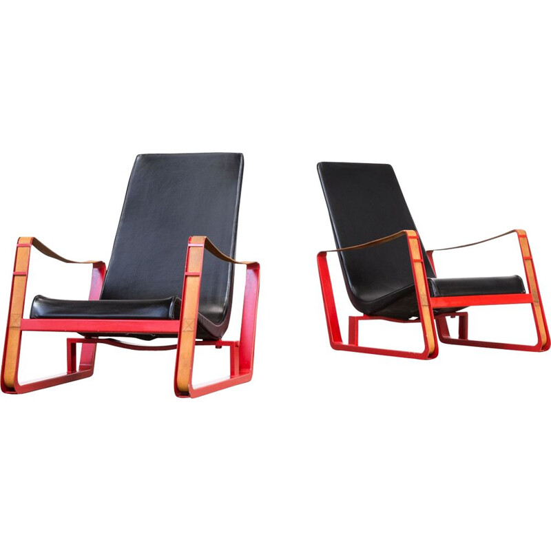 Set of 2 vintage Cité armchairs for Vitra in leather and metal 1930