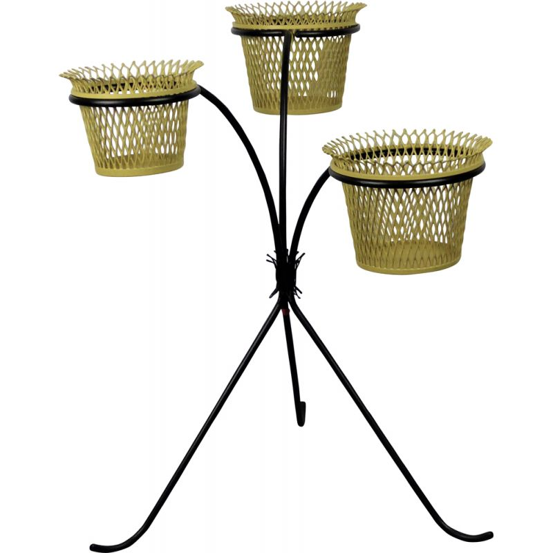 Vintage plant stand by Matégot in black metal 1950