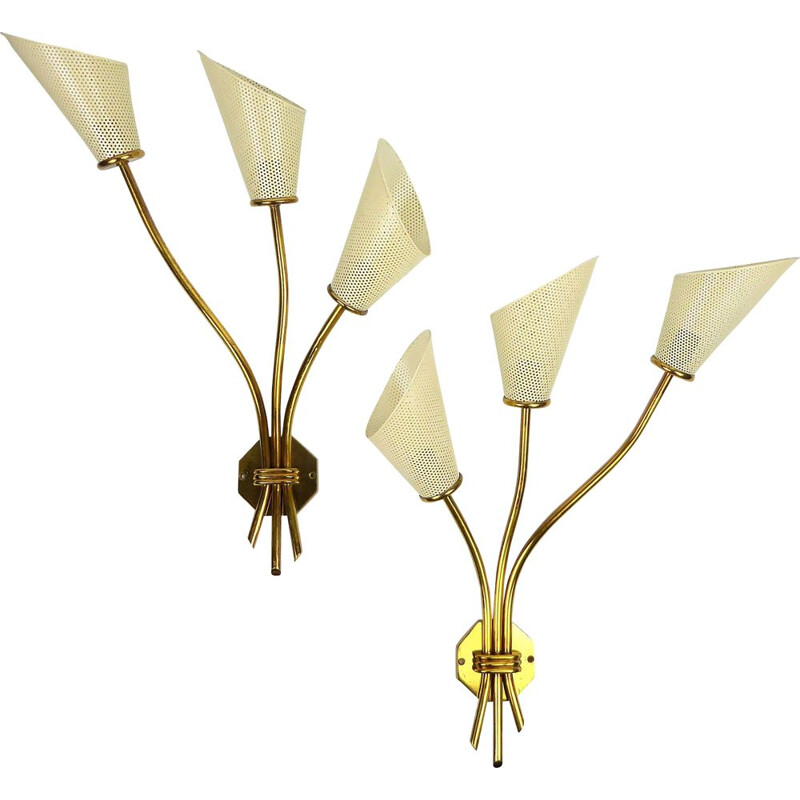 Pair of vintage sconces by Kobis & Lorence in white metal and brass 1950