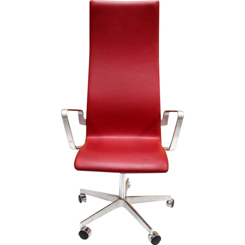 Vintage Oxford model 3192 armchair for Hansen in red leather 1960
