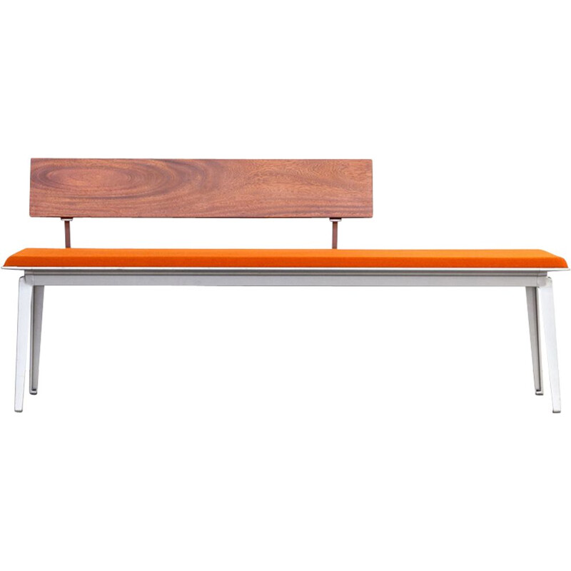 Vintage Ahrend 600 bench for Ahrend de Cirkel in orange metal and rosewood 1990