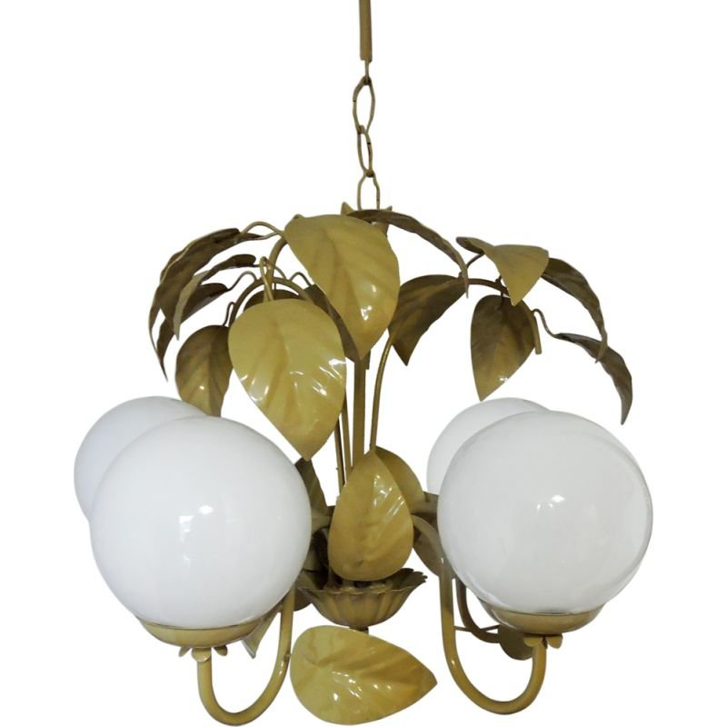 Vintage chandelier Golden and White Leaf, 1970s