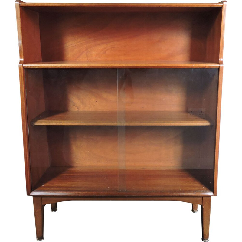 Vintage bookcase in teak with glass front by Nathan, 1960s