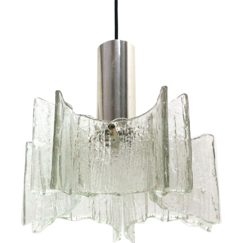 Vintage hanging lamp Ice Glass Kaiser 1970s