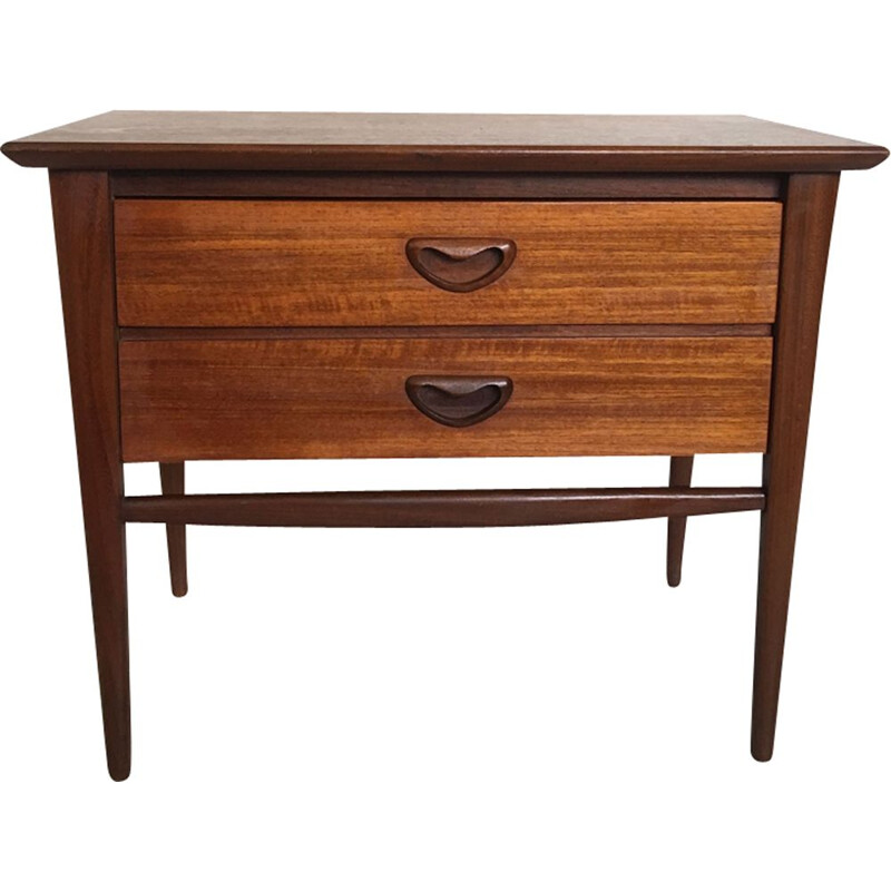 Vintage pair of teak nightstands by Louis Van Teeffelen for Wébé 1960s