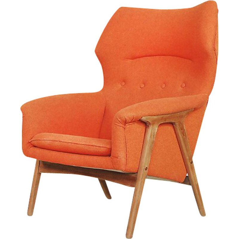 Vintage armchair for Bruksbo Nesjestranda in orange fabric and elmwood 1960