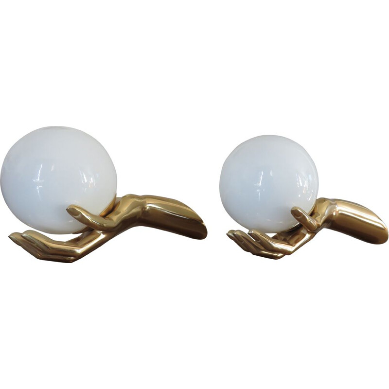 Pair of french vintage sonces for Arlus in brass and opaline 1960