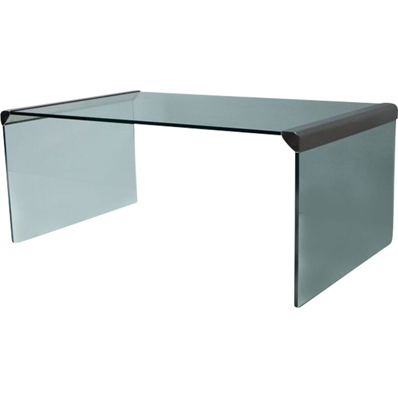Vintage T33 coffee table for Gallotti & Radice in glass and steel 1980