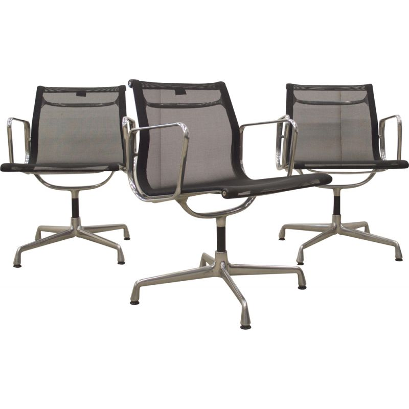 Set of 3 vintage desk chairs Vitra EA108 Alu by Charles Eames, Germany