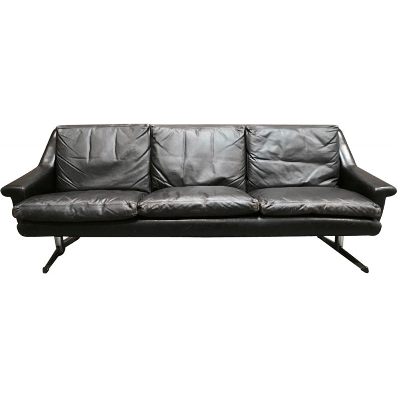 Vintage black 3-seater sofa in fully leather and chrome,1950