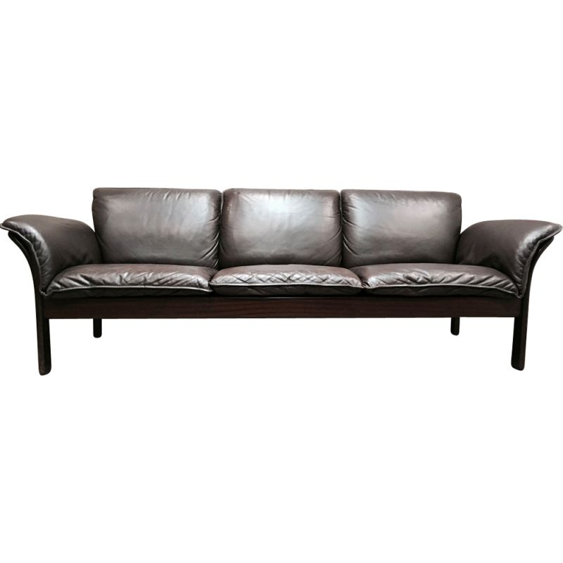 Vintage Scandinavian 3-seater sofa fully leather,1960
