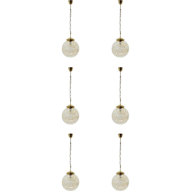 Vintage set of six brass pendant lights from the 70s