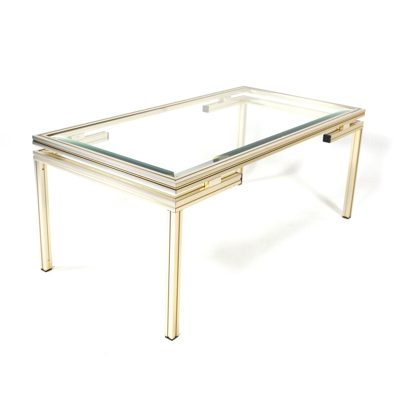 Aluminum and glass coffee table, Pierre VANDEL - 1970s