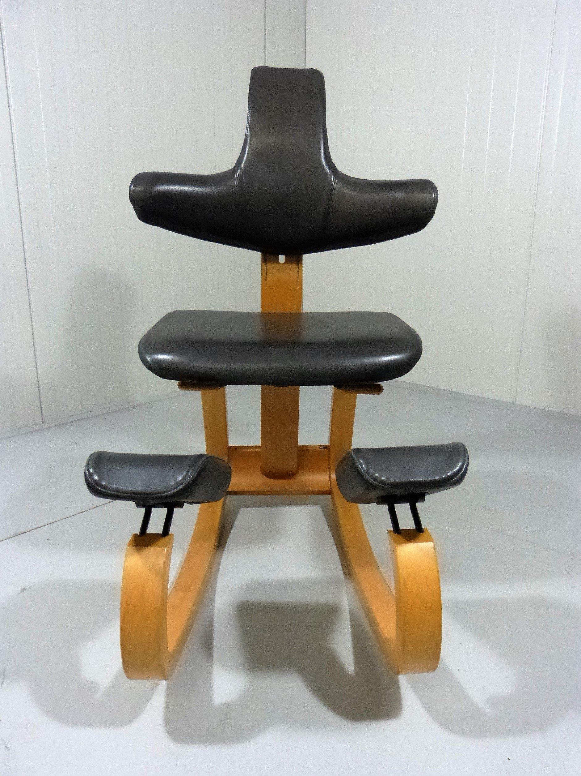Thatsit beech and leather balance chair Peter OPSVIK 1980s