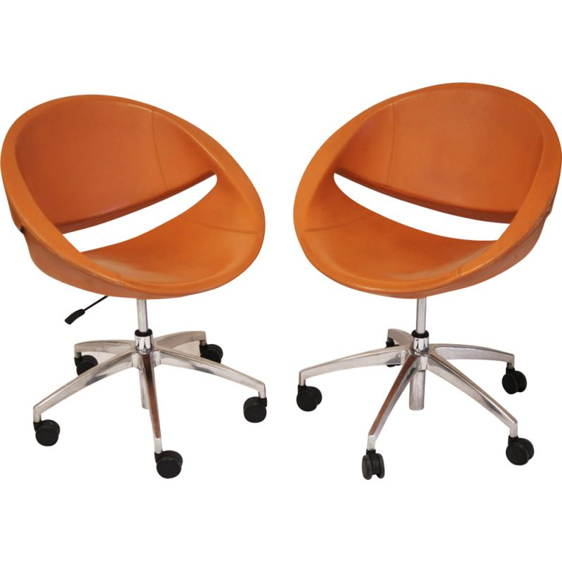 Vintage Mya armchair for Ares line in orange leather