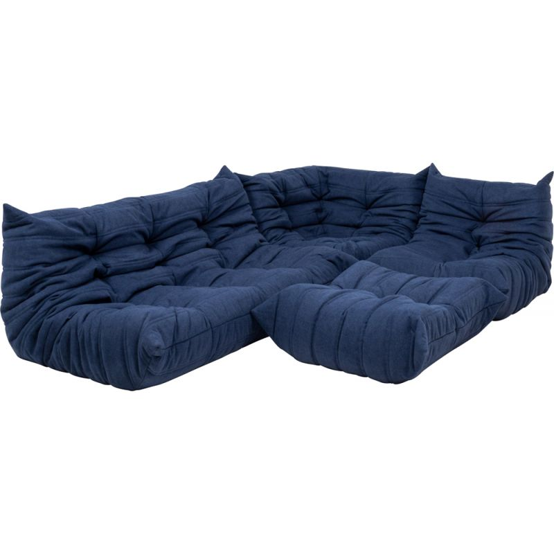 Vintage modular sofa blue and footstool by Michel Ducaroy for Roset line,1970