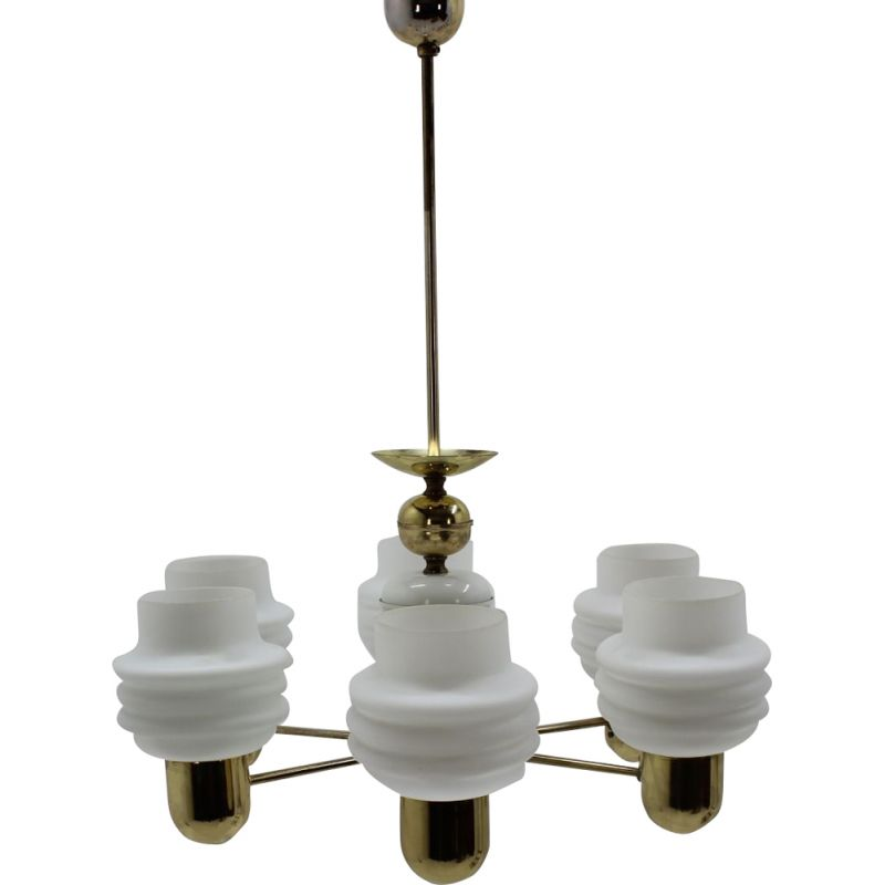 Vintage chandelier by Kamenický Šenov in brass and milk glass 1960