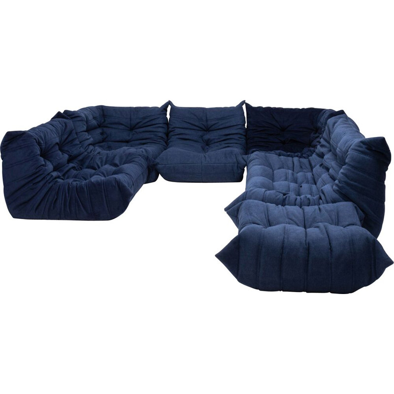 Set of 6 vintage Togo armchairs and footstool for Ligne Roset in blue fabric