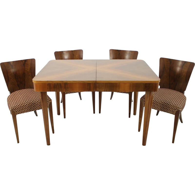 Vintage H-214 dining Set for UP Zavody in walnut 1950