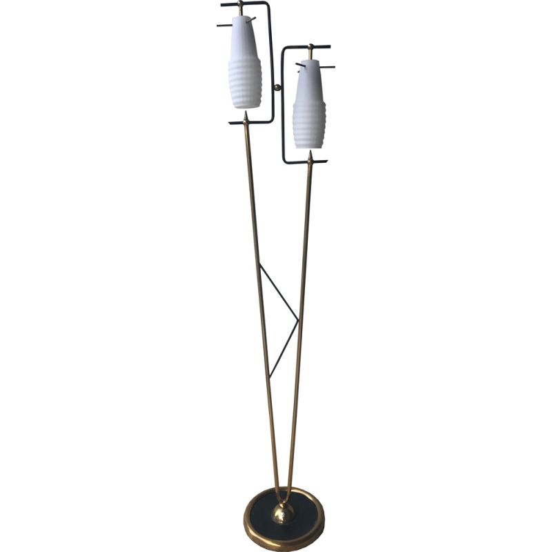 Vintage Italian floor lamp in black metal and opaline 1950
