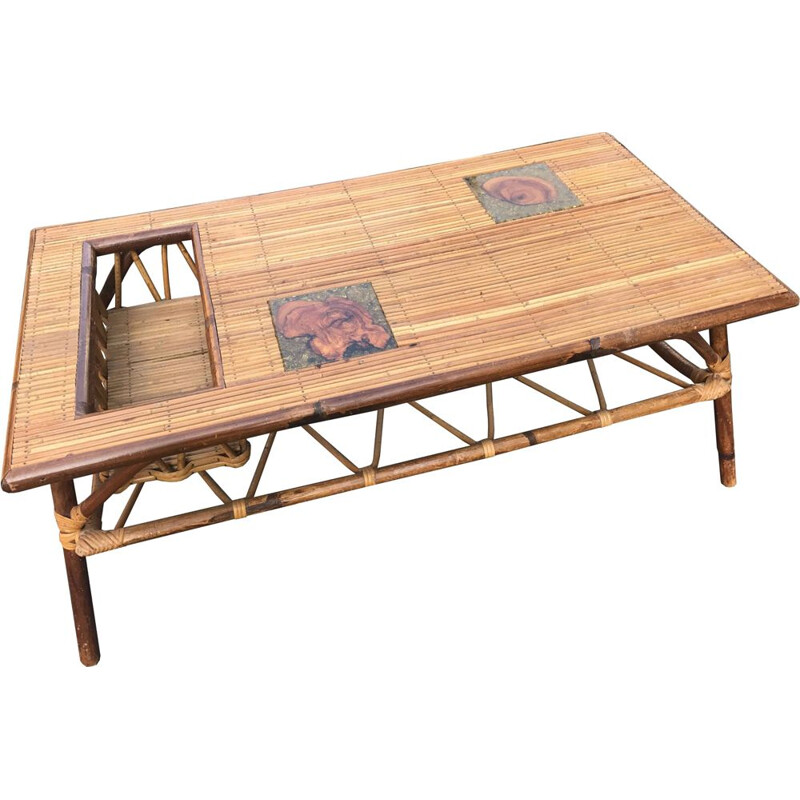 French vintage coffee table in rattan 1950
