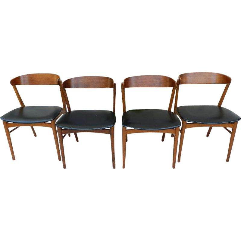 Set of 4 vintage 206 chairs for Fastrup in black leatherette and wood 1970