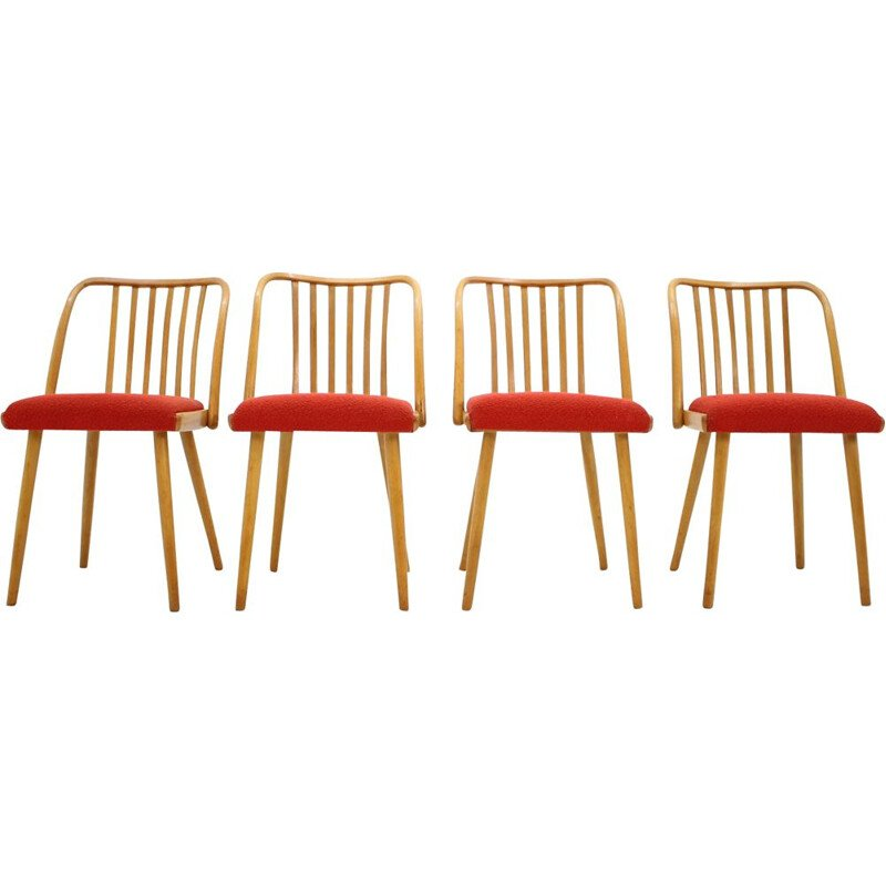 Set of 4 vintage chairs by Šuman in orange fabric and wood 1960