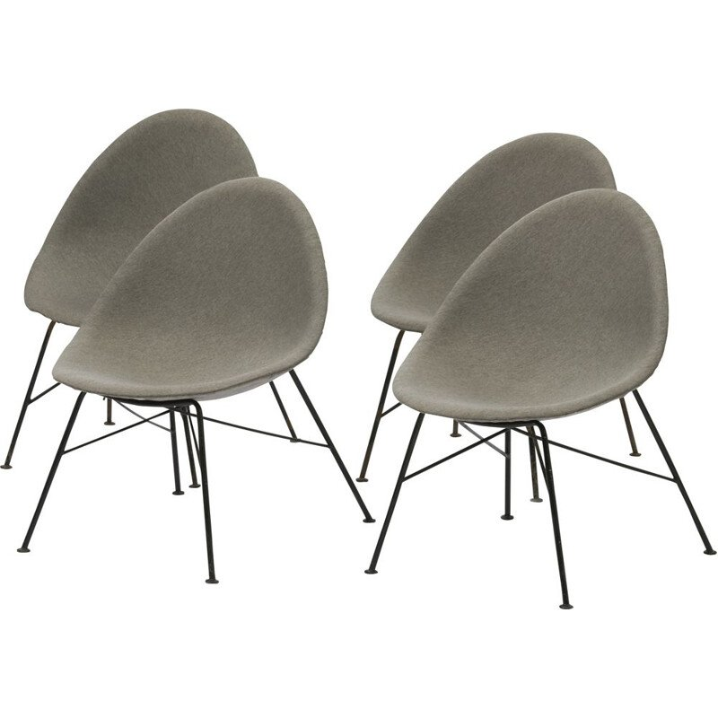 Set of 4 vintage chairs in grey fiberglass and steel 1960