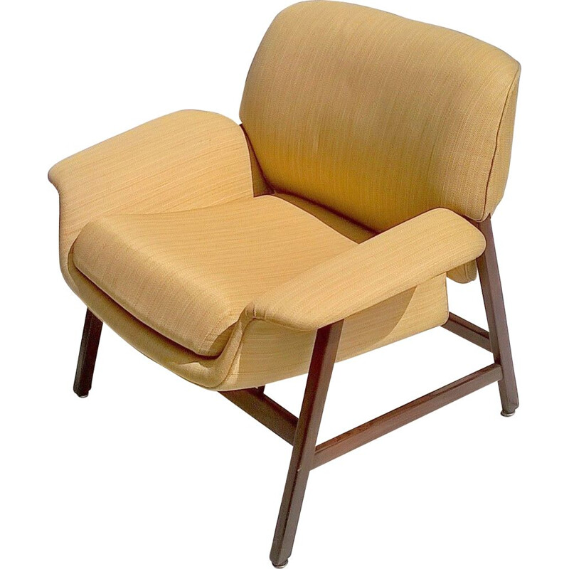 Vintage italian 849 armchair for Cassina in yellow fabric and wood 1950