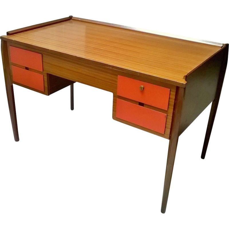 Vintage italian desk in teak and formica 1950