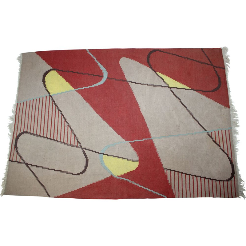 Vintage geometric carpet in wool 1950