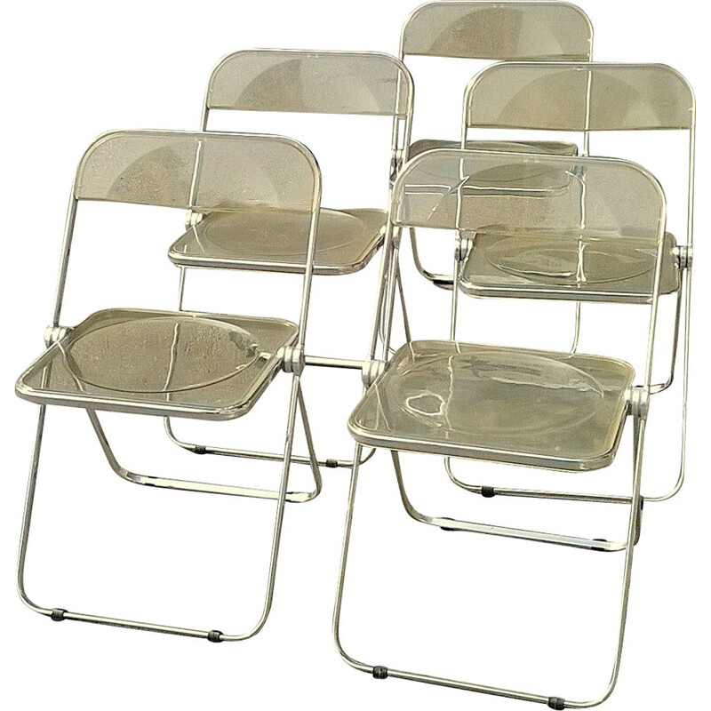 Set of 5 vintage yellow Plia chairs for Castelli in perspex and aluminium 1970
