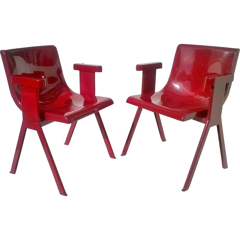 Pair of vintage red chairs for Olivetti Synthesis in plastic and aluminium 1970