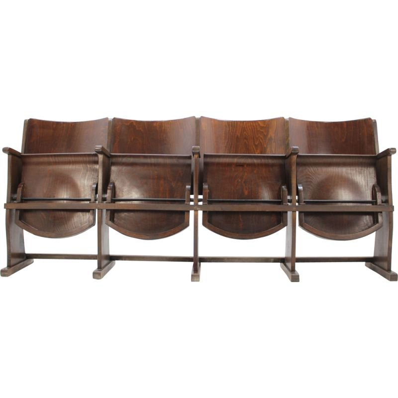 Vintage cinema bench for TON in wood 1950